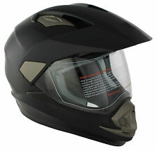 FULL FACE ADVENTURE DUAL SPORT ENDURO MOTORCYCLE CRASH HELMET MATT BLACK