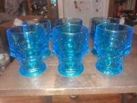 Capri Blue Aqua Georgian Honeycomb Drinking Glasses SET OF 6
