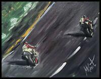 Original Oil Painting Canvas signed MKravt Race Motorcycle MOTO GP TT Motorsport