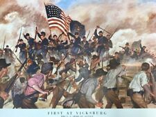 """Vintage 1955 FIRST AT VICKSBURG 24"""" x 21"""" Poster US ARMY IN ACTION"""