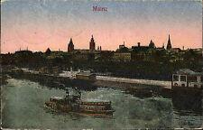 Schiffe ~1930 Rhein Dampfer Schiff Anlegestelle Hafen Mainz Rheinland-Pfalz