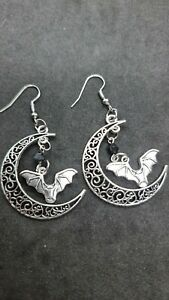 gorgeous sterling silver bat and moon Onyx earrings