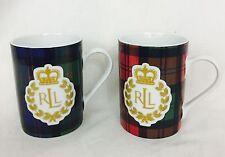 Ralph Lauren Knockhill Tartan Mugs. Lot Of 2. 1 Green/1 Red. NWOT
