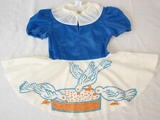 Dress Girl Polyamide GDR Vintage Ostalgia VEB Children Clothing 110 Blue Doves