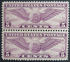 1930 5c US Airmail Stamps Scott #C12 Winged Globe Pair Flat Plate MNH