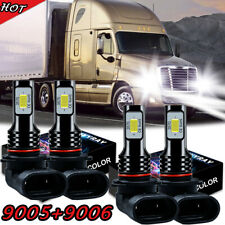 9005 9006 LED Headlight Bulbs Kit 6000K White For Sterling Truck High+Low Beam