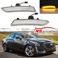 2Pcs Clear Front Led Side Marker Lights for Cadillac ATS 2015-2017 CTA 2014-2017