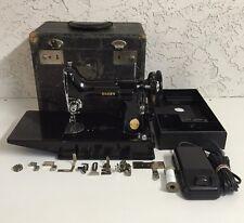 Vintage 1947 Singer Featherweight 221K 221-1 Sewing Machine with Case Black