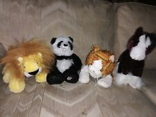 Lot Of 4 Ganz Webkinz Plush Panda Bear Striped Alley Cat Lion Horse Stuffed