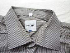 E7821 Olymp Tendenz Businesshemd Kombimanschette 43 braun, weiß gestreift  Neuw.