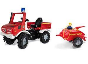 Rolly Toys Fire Unimog Feuerwehr Edition 2020 mit Anhänger Tretauto 3 – 8 Jahre