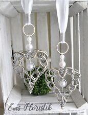 Fensterdeko Herz Weidenherz offen 20x16 cm Perlen Strassbeat natur/weiß
