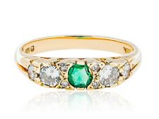 Round Diamonds 0.36ct. G-H,Si1-Si2 & Emerald 0.20ct. Y. Gold 18k. Ring UK Size M