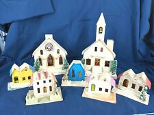 Vintage Mica Putz Cardboard Village Lot of 7 Houses Church Chapel Japan