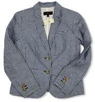 NWT Talbots Petites Blue Checkered Blazer Jacket Outerwear Size 2P Linen $129