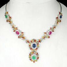 203 CTS! MAGNIFICENT! ! NATURAL MULTI-COLORED SAPPHIRE, EMERALD & RUBY NECKLACE