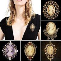 Fashion Cameo Queen Flower Beauty Head Crystal Brooch Pin Wedding Bridal Jewelry