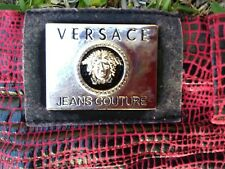 Versace Couture vintage jeans, red leather look, animal print