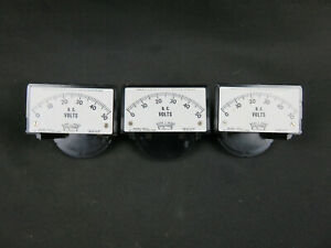 Lot of 3 Vintage Triplett Model 327-U D.C. 0-50 volts meter