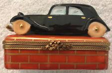 Limoges France Peint Main Hand Painted Car Porcelain Hinged Trinket Box Rare!