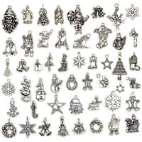 50PCS Bulk Lots Tibetan Silver Christmas Pendants Charms DIY Jewelry Findings