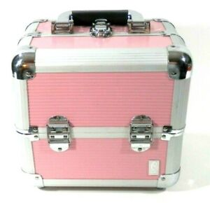 Caboodles Small 2 Tray Train Case Makeup Pink Ribbed 9H x 9.5W x 7D