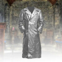 Men Trench Gothic steampunk Retro Coat Long Jacket Leather Vampire Medieval 2019