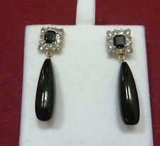 FABULOUS ANTIQUE 9 CT Y GOLD DARK BLUE SAPPHIRE, SPINEL & ONYX EARRINGS C 1900'S