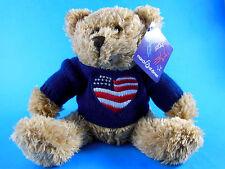 """Happy Birthday Teddy Bear Beanie Plush March of Dimes Plushland 8"""" w Sweater MWT"""