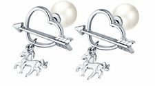 GirlZ! Valentine Day Special Silver Plated Pearl Arrow Heart Horse Stud Earrings