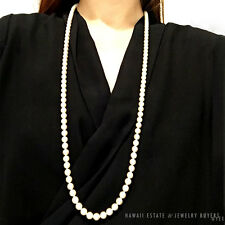 MING'S HAWAII PEARL SINGLE STRAND OPERA LENGTH 14K YELLOW GOLD NECKLACE