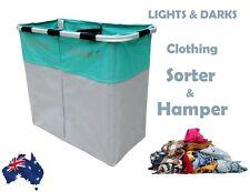 Clothing Laundry Hamper Folding Twin Large Washing Basket Sorter Lights & Darks