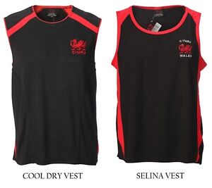 New Men's Wales Welsh Cymru Cool Dry/Selina Sleeveless Casual Rugby Vest Top