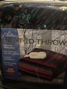 "Biddeford Electric Heated Throw, 50"" X 62"" Auto Shut Off, 13' Cord, 10 Settings,"