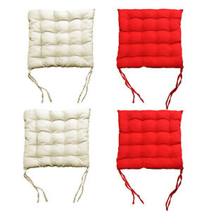 Pack of 4 - 2 x Red plus 2 x Cream Kitchen Dining Chair Pad Cushion 38 x 38cm