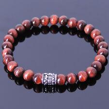 Lucky Sports Bracelets for Men Red Tiger's Eye Gemstone New Orleans Fleur de Lis