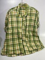 Old Navy Men's Plaid Button Up Shirt Sz XXL Short Sleeves Green Yellow Cotton