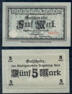 GERMANY 5 MARK AUGSBURG GUTSCHEIN NOTGELD BANKNOTES 1918 VF