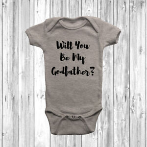 Will You Be My Godfather? Baby Grow Body Suit Vest Christening Cute Unisex