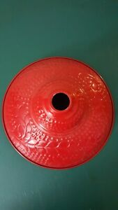 Dome Pendant Light Shade Cover Metal Red Pink Floral Paisley Embossed Textured