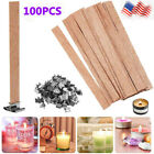100Pcs DIY Wooden Iron Candle Wicks Core Sustainer for Candle Making Supplies US