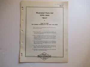 Briggs & Stratton 8B-H engine parts list manual catalog