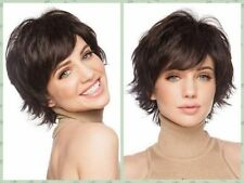 Fashion Dark Brown Short Straight Wavy Women's Lady's Hair Wig Full Wigs + Cap