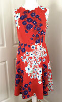 Joe Browns Red Floral Print Dress Va Va Voom  Fit & Flare Sleeveless UK 16