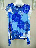 Chico's Blue Floral Top Sz 3 XL S/S Spring Summer Knit Misses