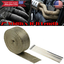"2"" 15ft Exhaust Header Downpipe Manifold Pipe Titanium Heat Wrap + 6 Tie For BMW"