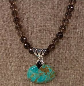 Jay King Tyrone Turquoise and Smoky Quartz Pendant and Necklace NIB