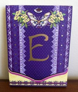 New Notepad Letter E with Butterfly and Flowers Small with Magnetic Close