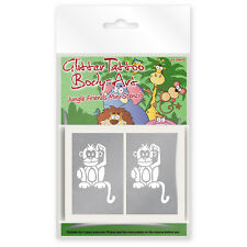 24 x Jungle Friends Mini Glitter Tattoo / Body Art Stencils for Boys and Girls
