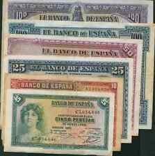 SPAIN GREAT SET. 6 DIFF NOTES REPUBLICA 1925-1935. VF CONDITION. LOW START. 24e8